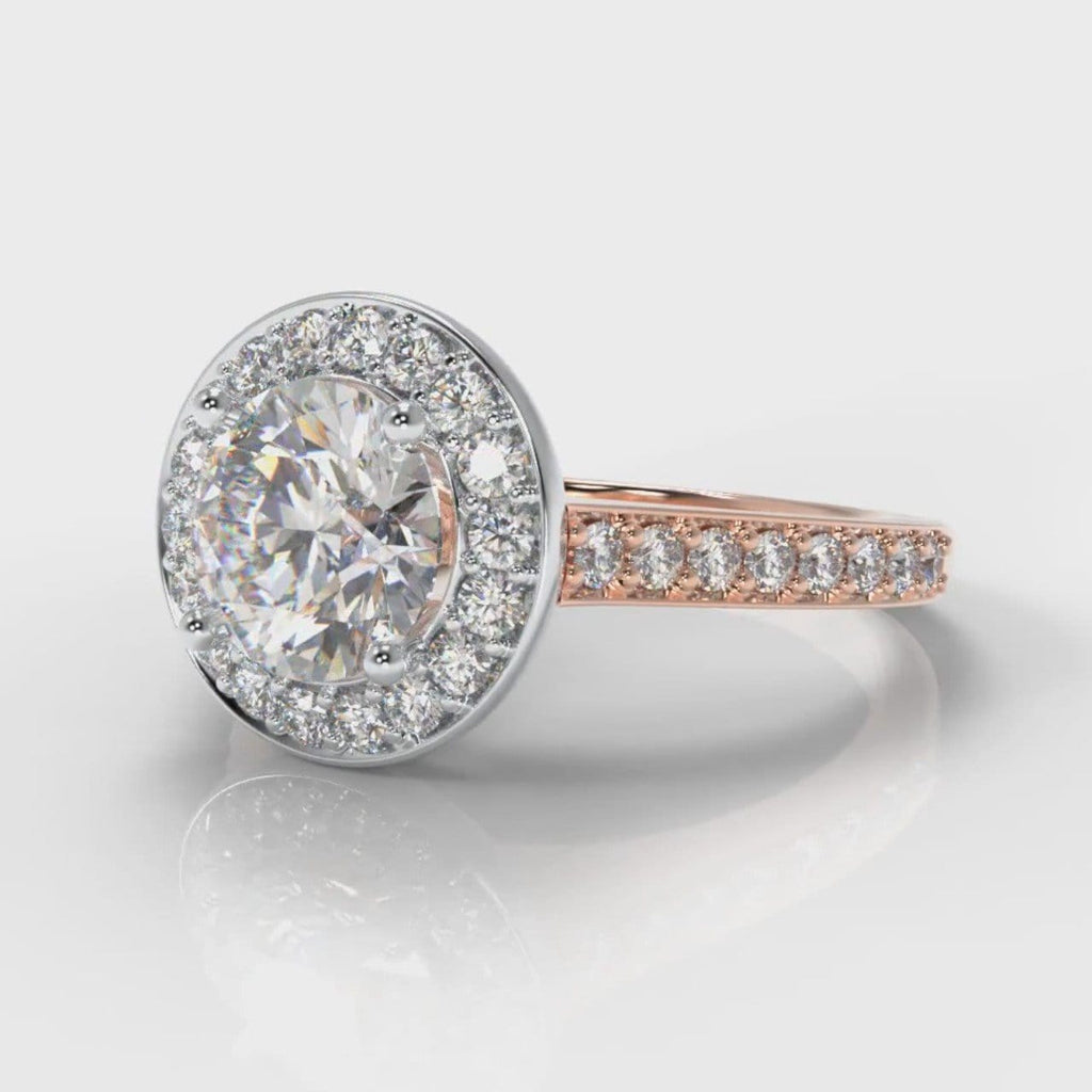 Pavé Round Brilliant Diamond Halo Engagement Ring - Two Tone Rose Gold