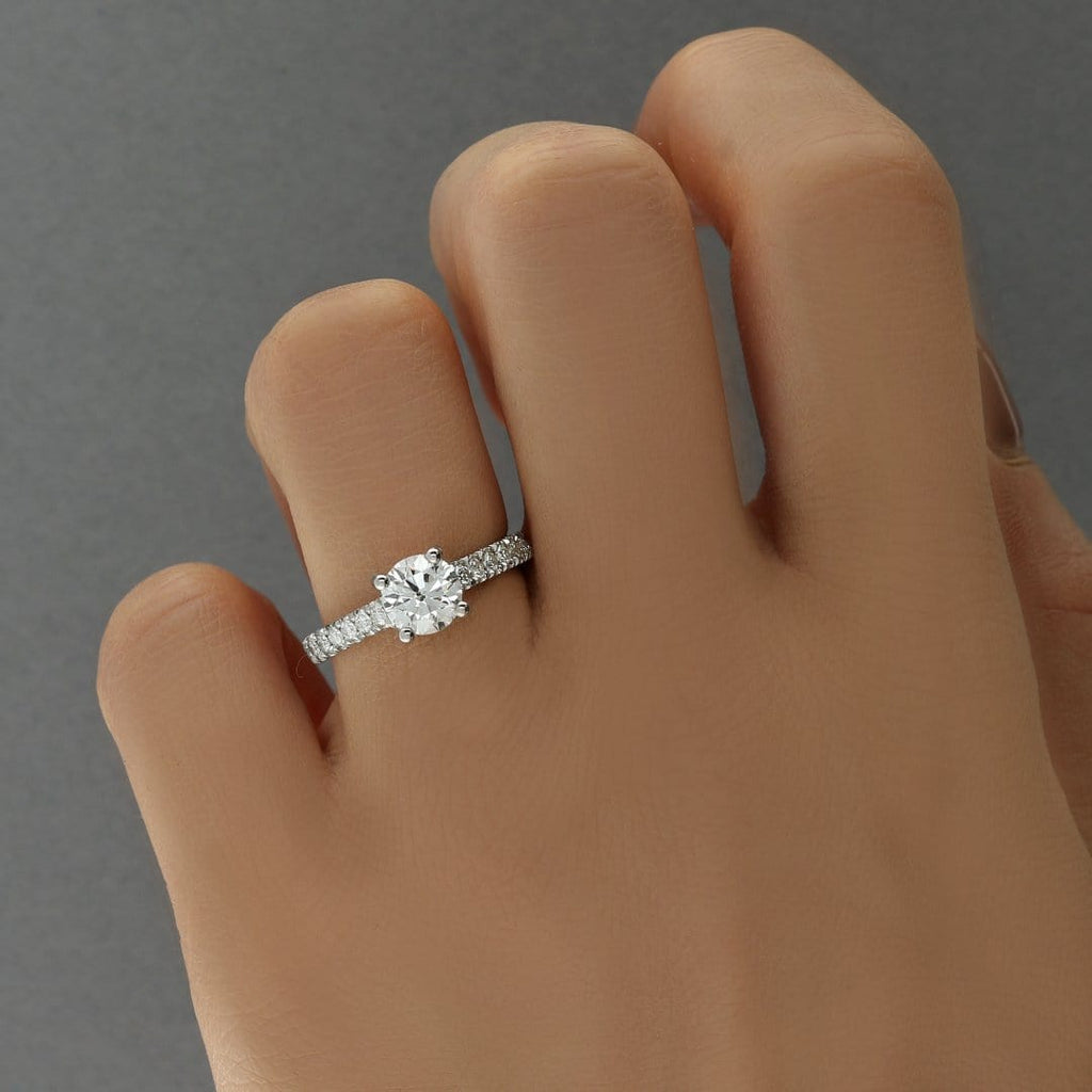Carrée Micropavé Round Brilliant Diamond Engagement Ring