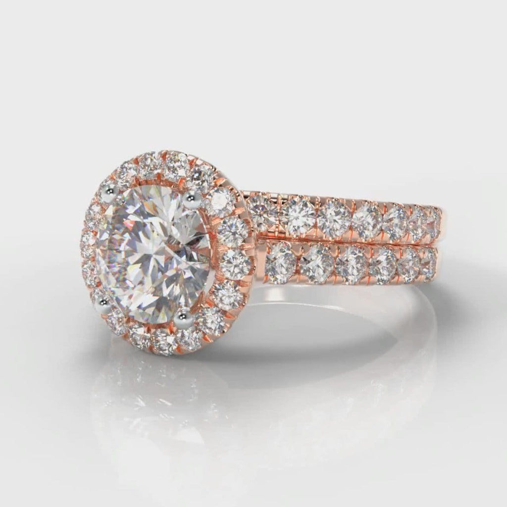 Micropavé Round Brilliant Cut Diamond Halo Bridal Set - Rose Gold