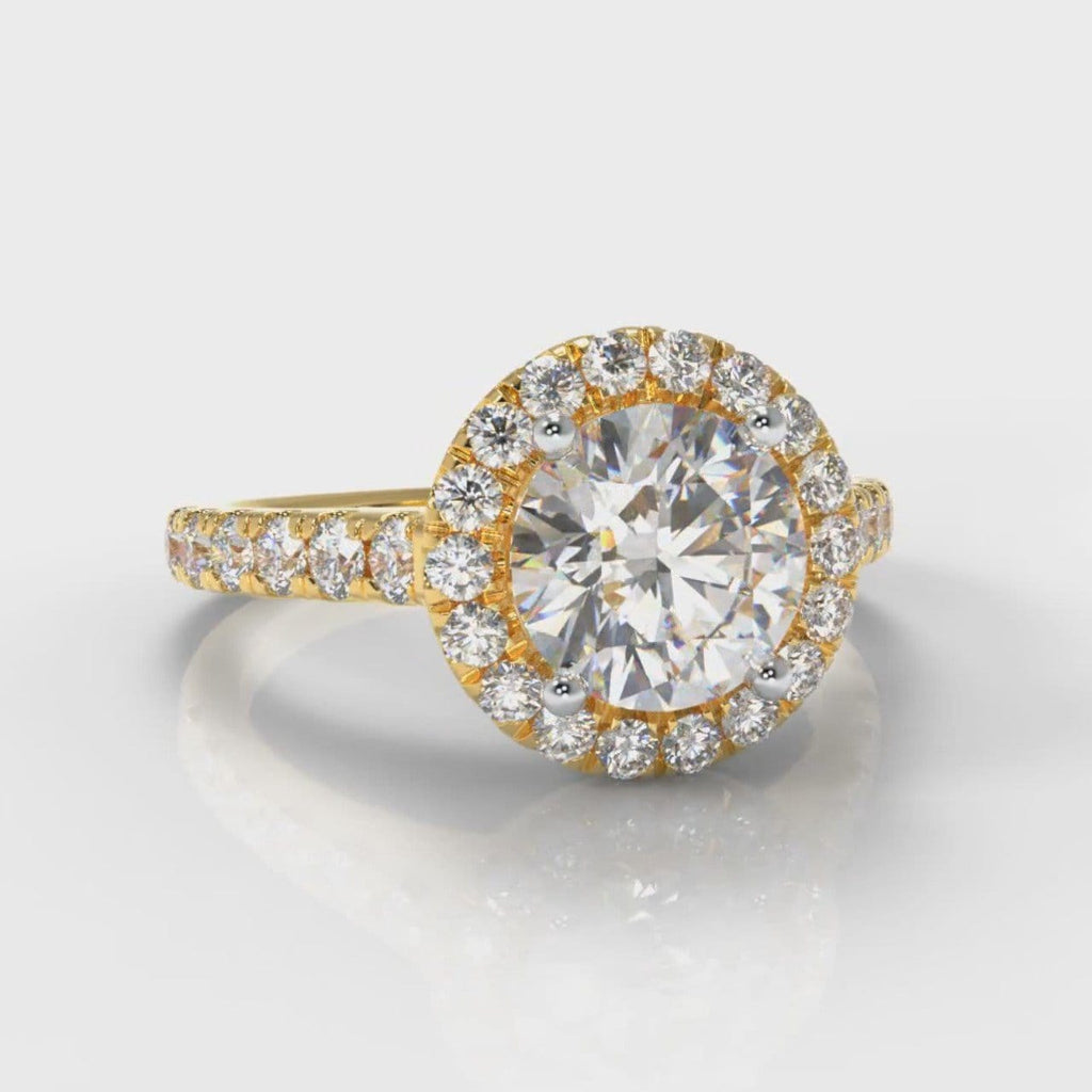 Micropavé Round Brilliant Cut Diamond Halo Engagement Ring - Yellow Gold