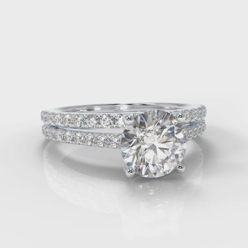 Petite Micropavé Round Brilliant Cut Diamond Bridal Set