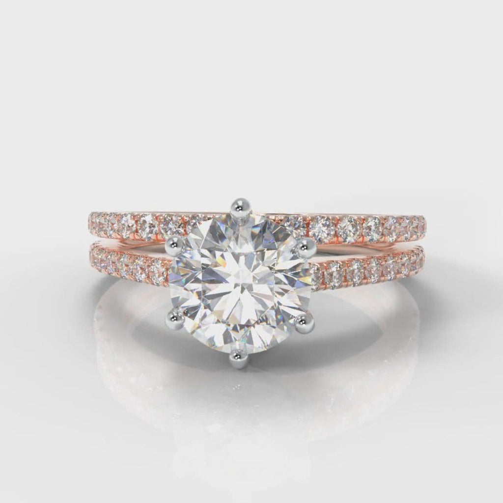 Star Petite Micropavé Round Brilliant Cut Diamond Bridal Set - Rose Gold