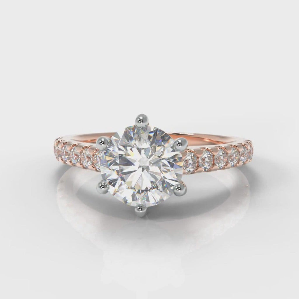Star Micropavé Round Brilliant Diamond Engagement Ring - Rose Gold