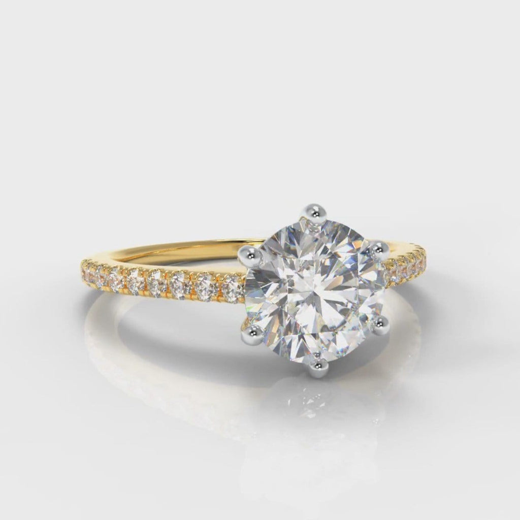Star Petite Micropavé Round Brilliant Cut Diamond Engagement Ring - Yellow Gold