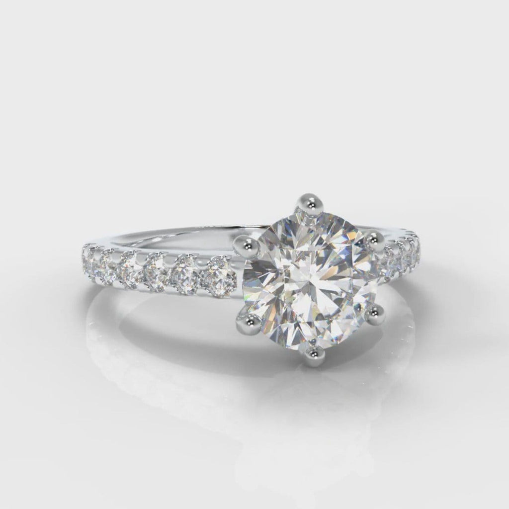 Star Micropavé Round Brilliant Diamond Engagement Ring