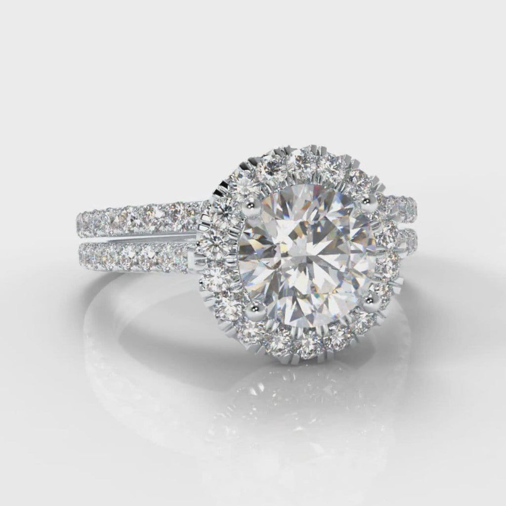 Petite Micropavé Round Brilliant Cut Diamond Halo Bridal Set