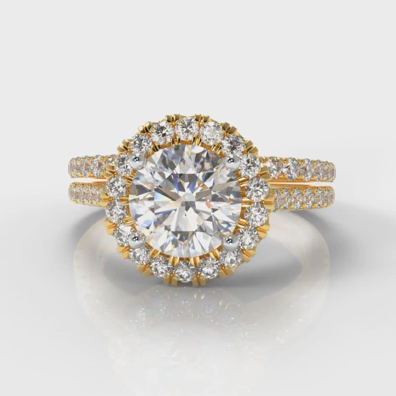Petite Micropavé Round Brilliant Cut Diamond Halo Bridal Set - Yellow Gold