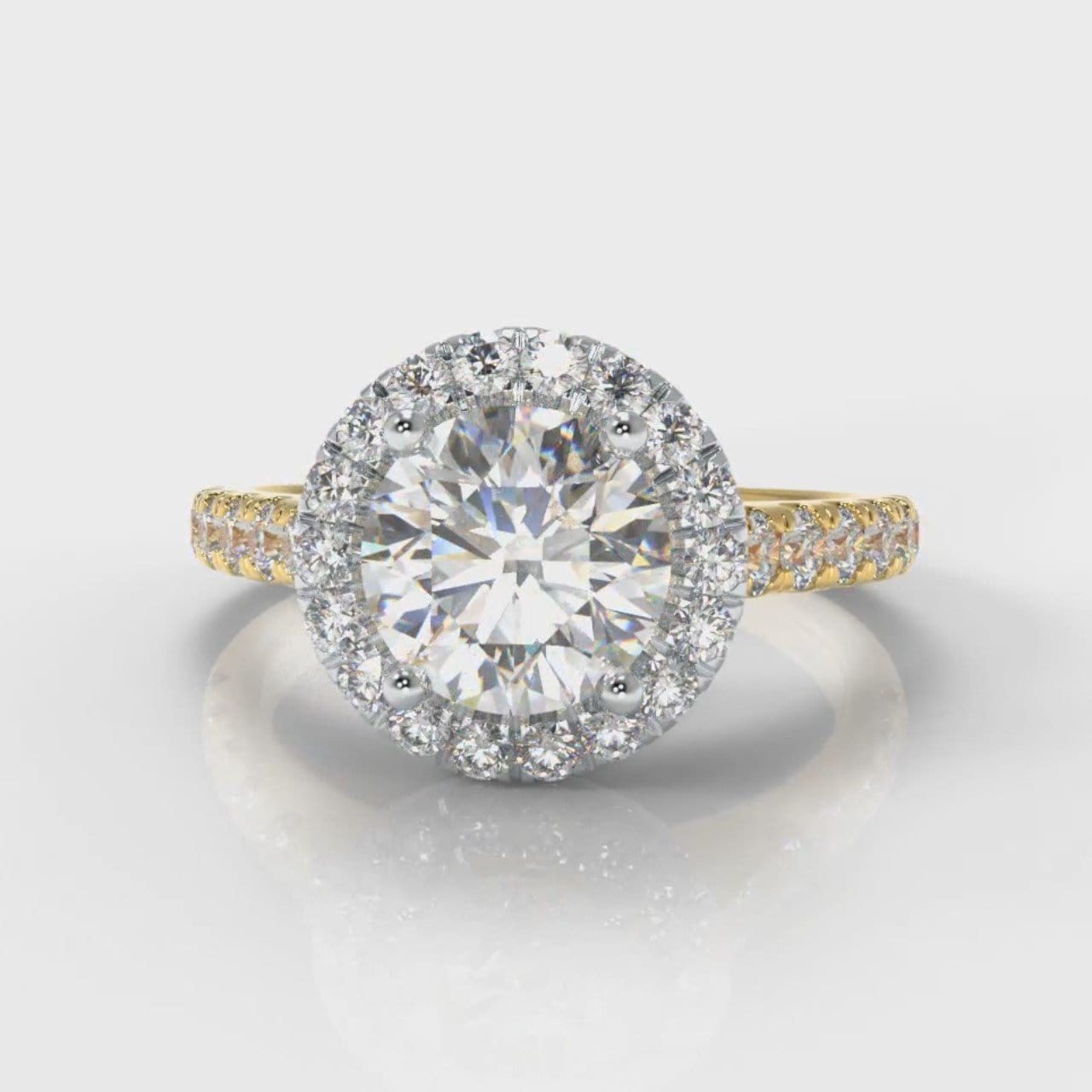 Micropavé Round Brilliant Cut Diamond Halo Engagement Ring - Two Tone Yellow Gold