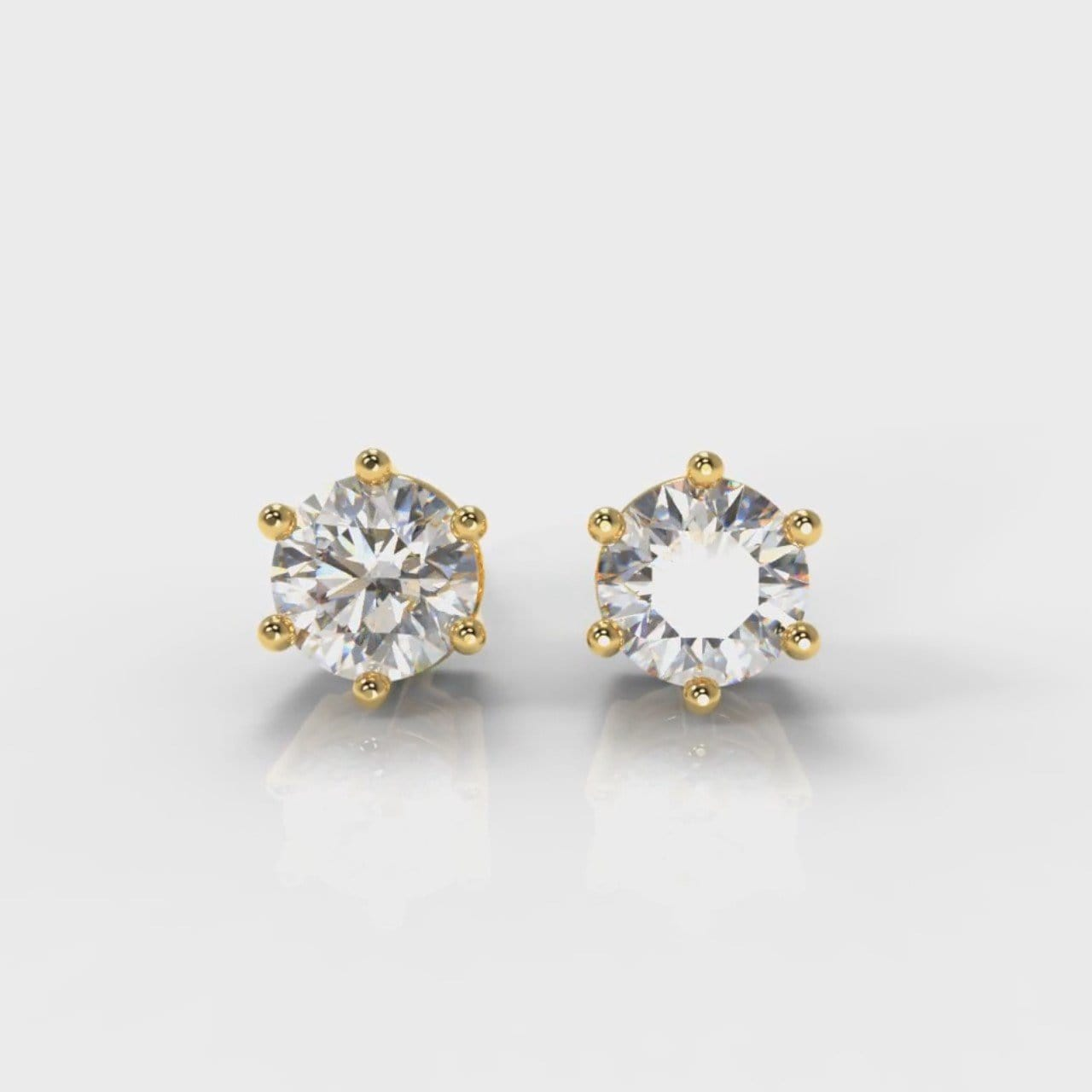 Six Claw Diamond Stud Earrings (Lab Grown Diamonds) - Yellow Gold