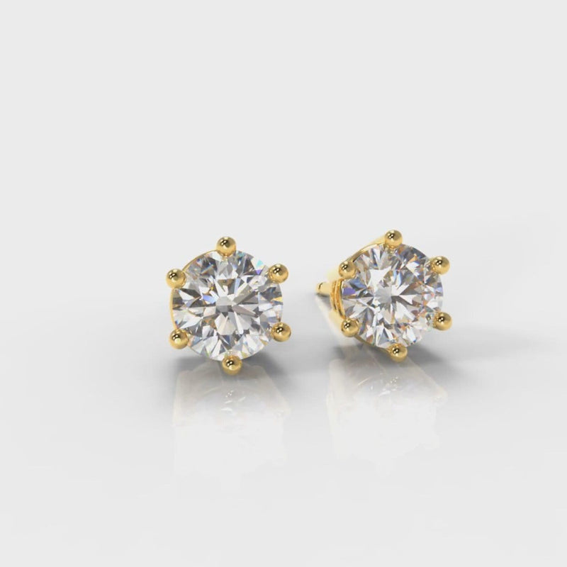 Six Claw Diamond Stud Earrings (GIA Certified) - Yellow Gold