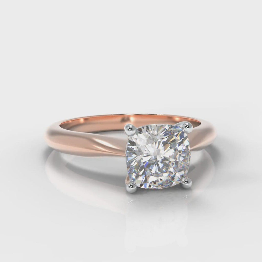 Carrée Solitaire Cushion Cut Diamond Engagement Ring - Rose Gold