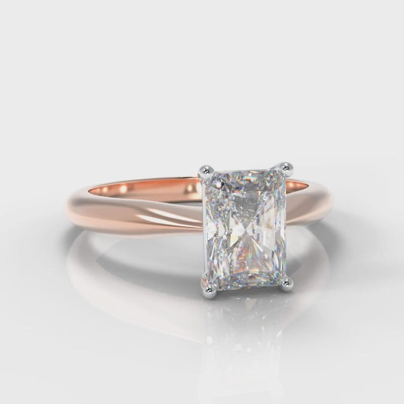 Carrée Solitaire Radiant Cut Diamond Engagement Ring - Rose Gold