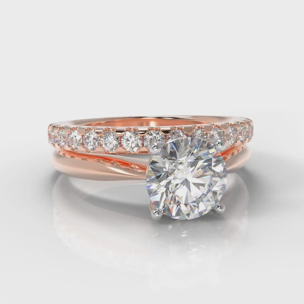 Carrée Solitaire Round Brilliant Cut Diamond Bridal Set - Rose Gold