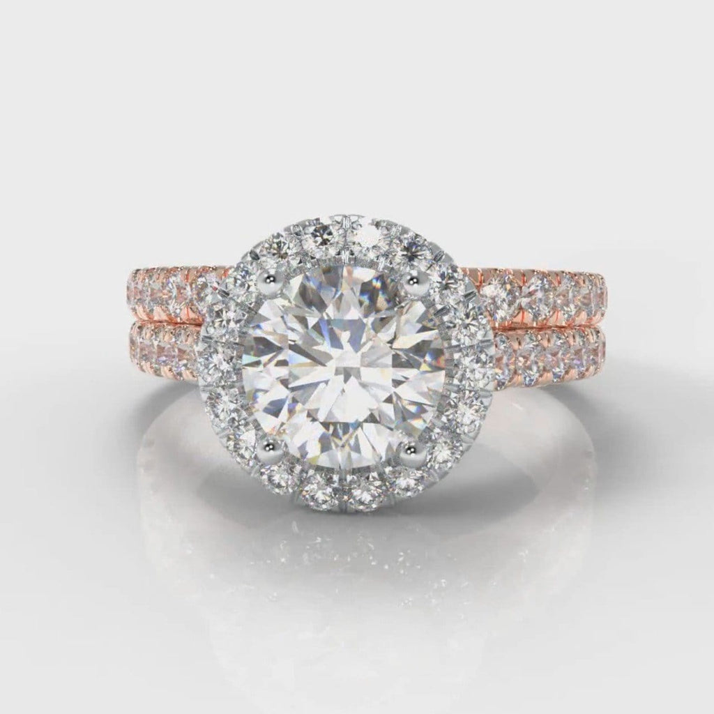 Micropavé Round Brilliant Cut Diamond Halo Bridal Set - Two Tone Rose Gold