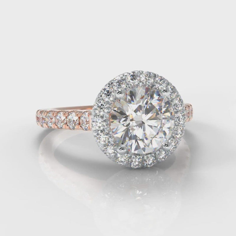 Micropavé Round Brilliant Cut Diamond Halo Engagement Ring - Two Tone Rose Gold