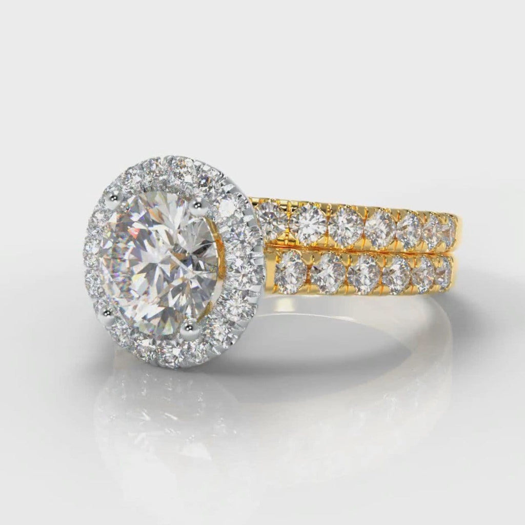 Micropavé Round Brilliant Cut Diamond Halo Bridal Set - Two Tone Yellow Gold