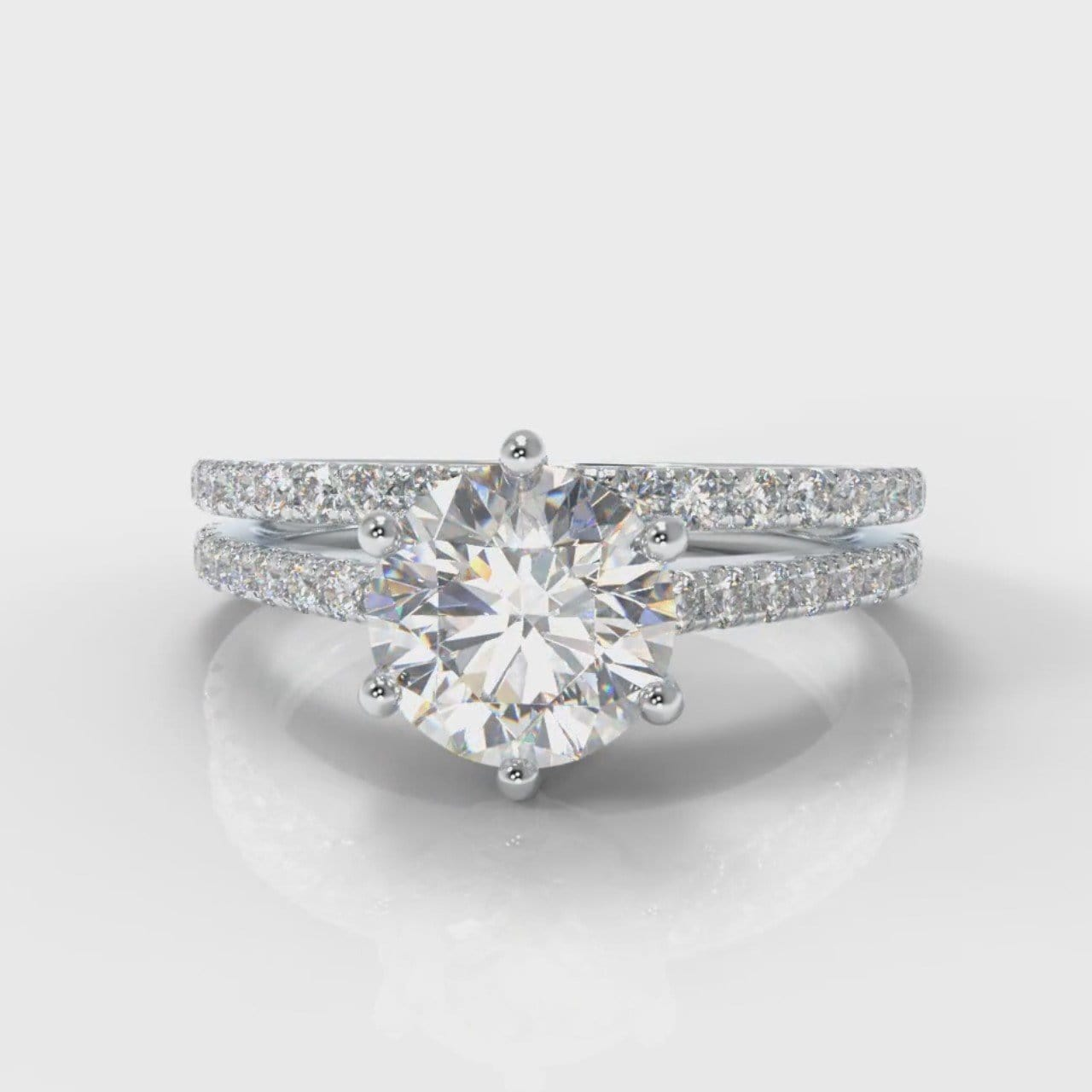 Star Petite Micropavé Round Brilliant Cut Diamond Bridal Set