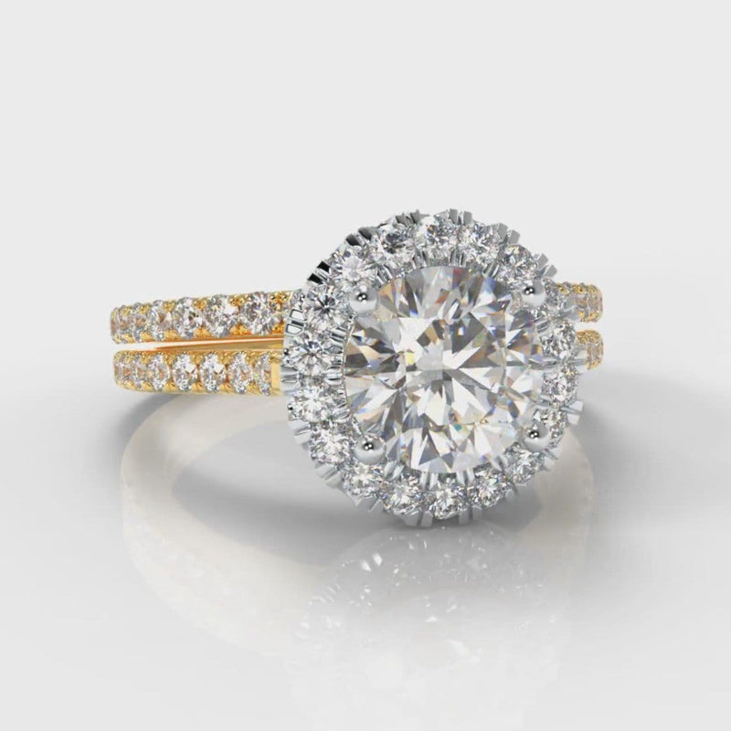 Petite Micropavé Round Brilliant Cut Diamond Halo Bridal Set - Two Tone Yellow Gold