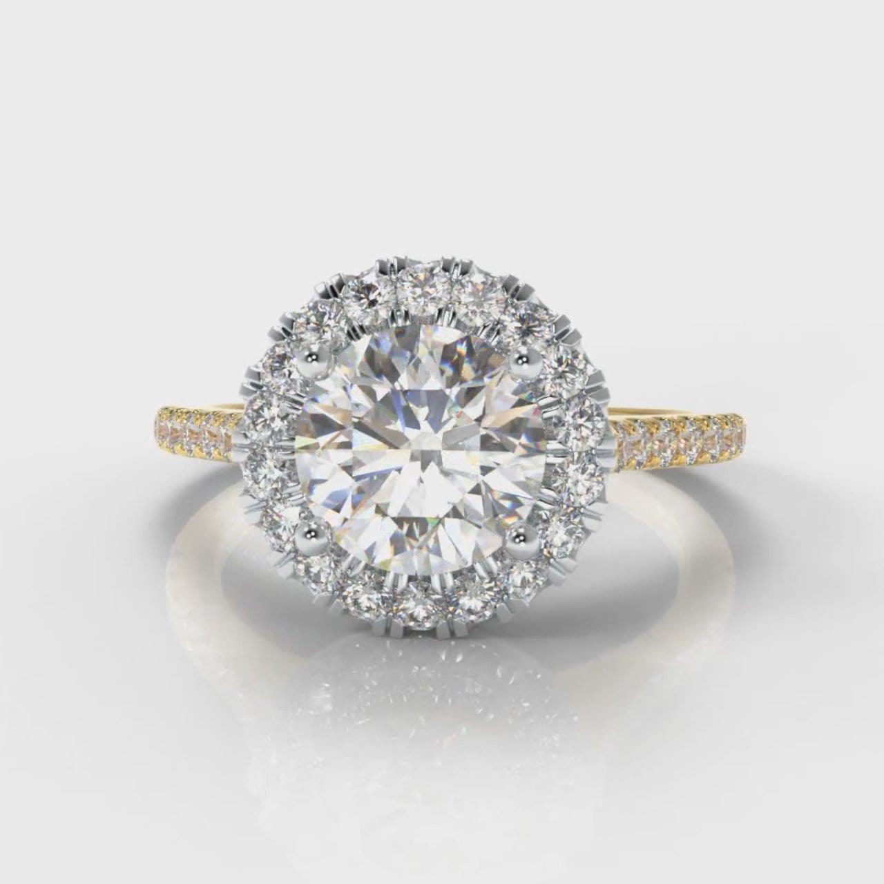 Petite Micropavé Round Brilliant Cut Diamond Halo Engagement Ring - Two Tone Yellow Gold