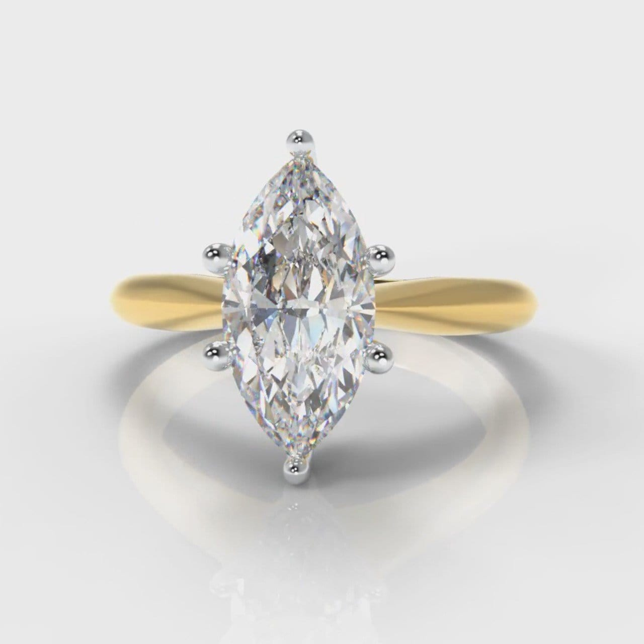 Star Solitaire Marquise Diamond Engagement Ring - Yellow Gold