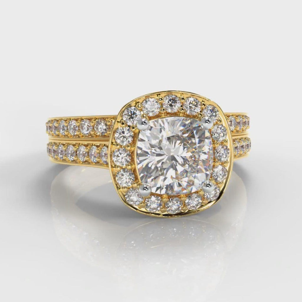 Pavé Cushion Cut Diamond Halo Bridal Set - Yellow Gold