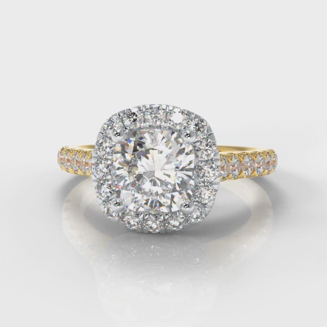 Micropavé Cushion Cut Diamond Halo Engagement Ring - Two Tone Yellow Gold