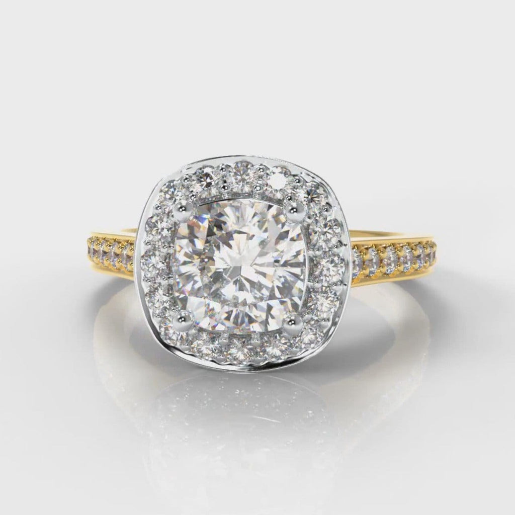 Pavé Cushion Cut Diamond Halo Engagement Ring - Two Tone Yellow Gold