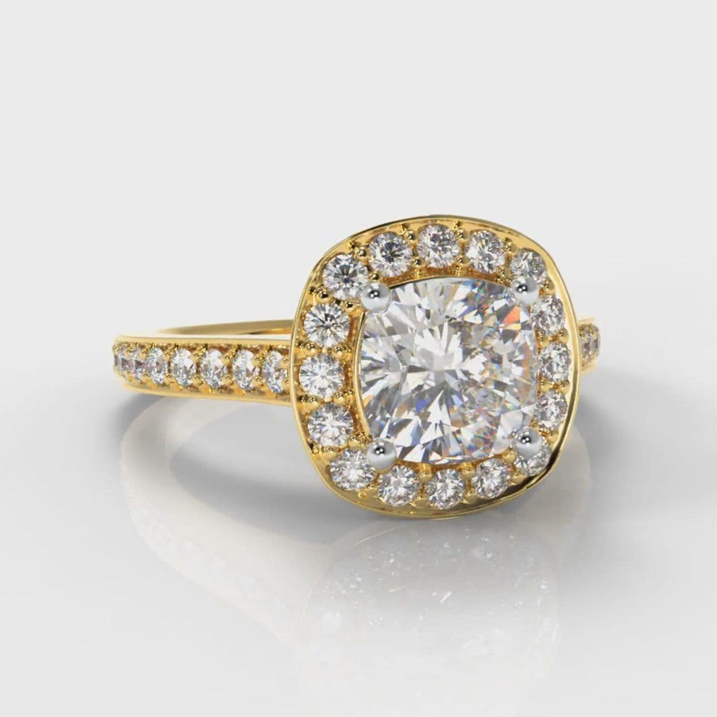 Pavé Cushion Cut Diamond Halo Engagement Ring - Yellow Gold