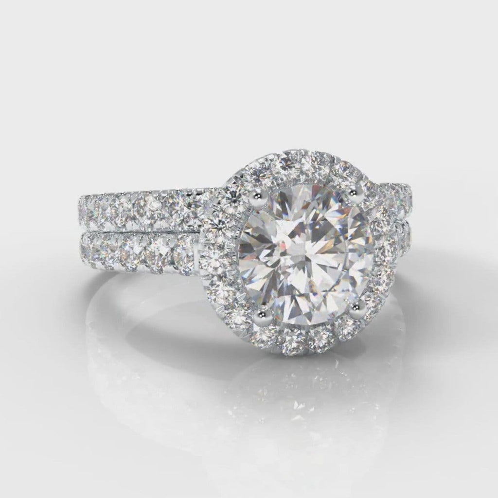 Micropavé Round Brilliant Cut Diamond Halo Bridal Set