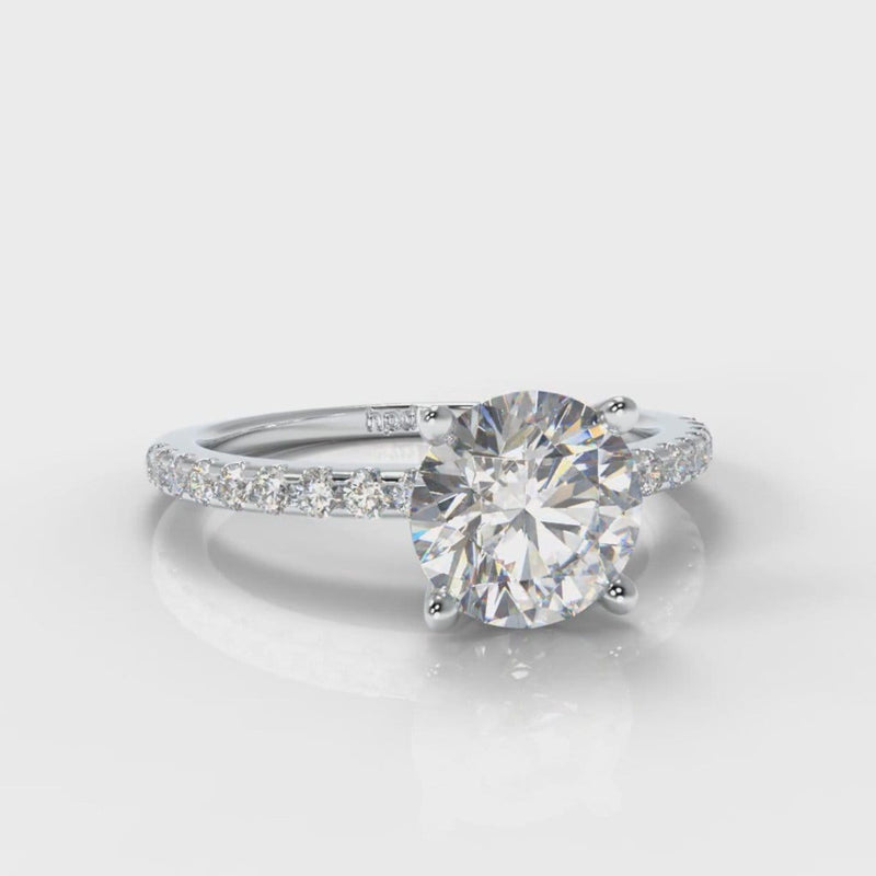 Petite Micropavé Round Brilliant Cut Diamond Engagement Ring