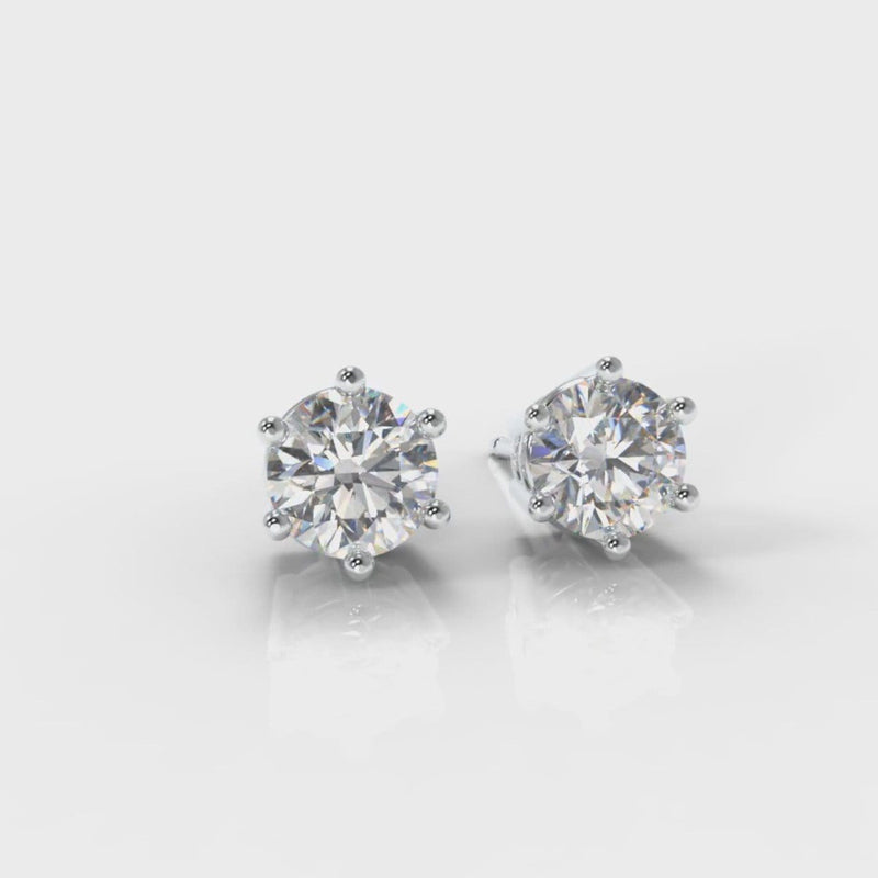 Six Claw Diamond Stud Earrings (Lab Grown Diamonds)