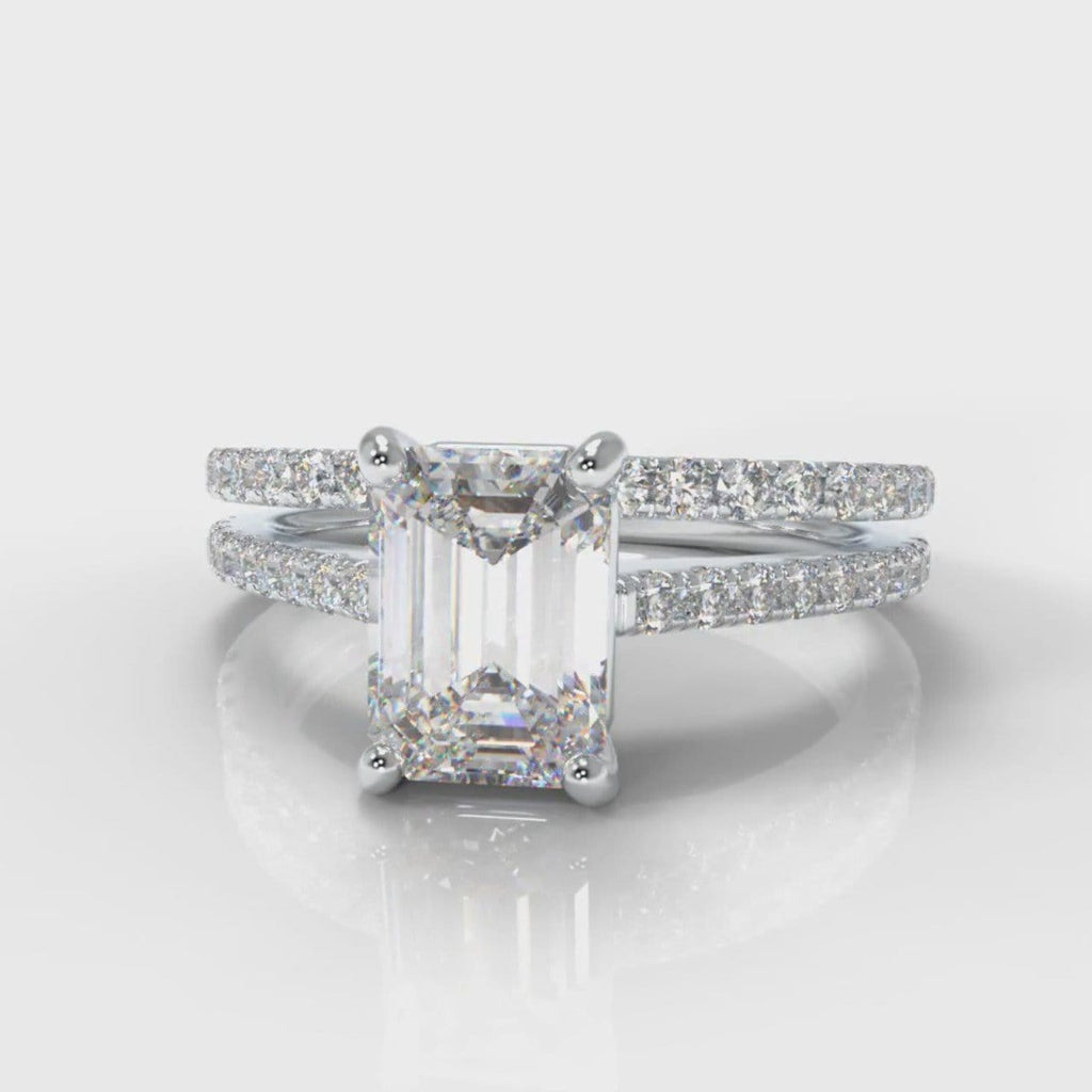 Petite Micropavé Emerald Cut Diamond Bridal Set