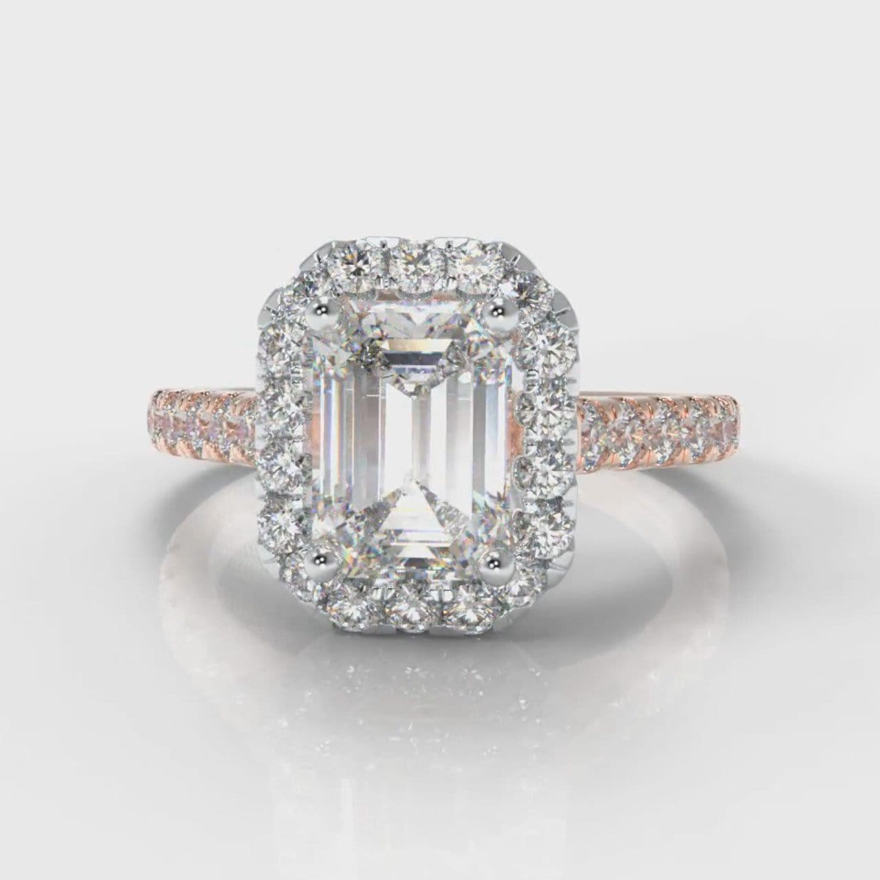 Micropavé Emerald Cut Diamond Halo Engagement Ring - Two Tone Rose Gold