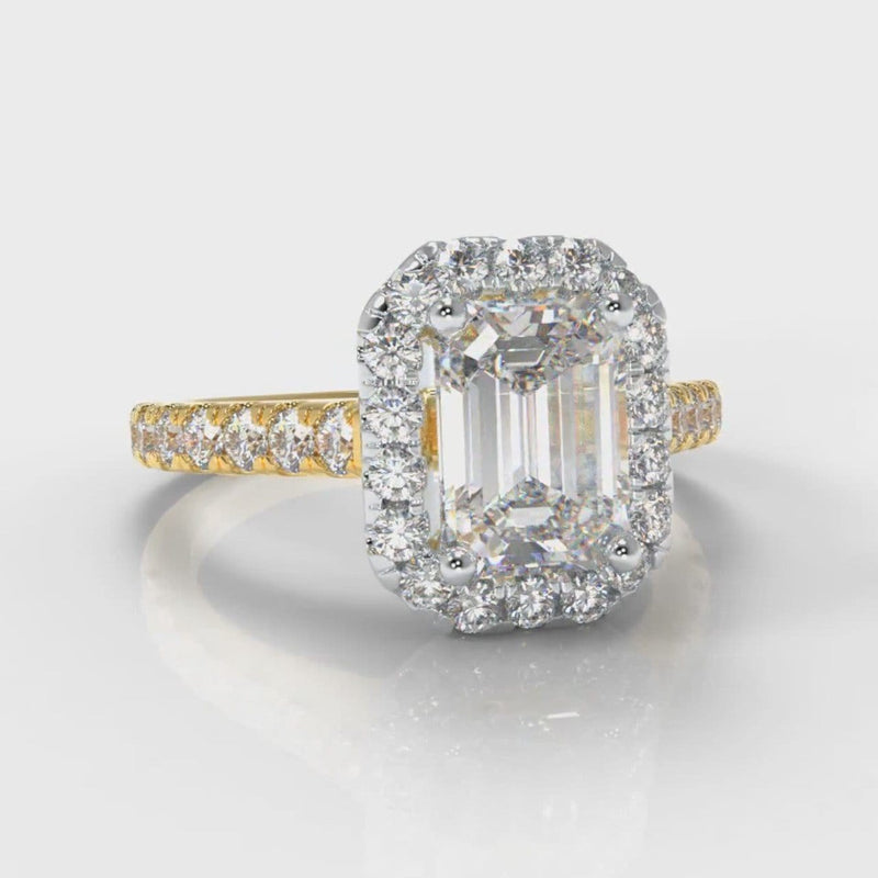 Micropavé Emerald Cut Diamond Halo Engagement Ring - Two Tone Yellow Gold