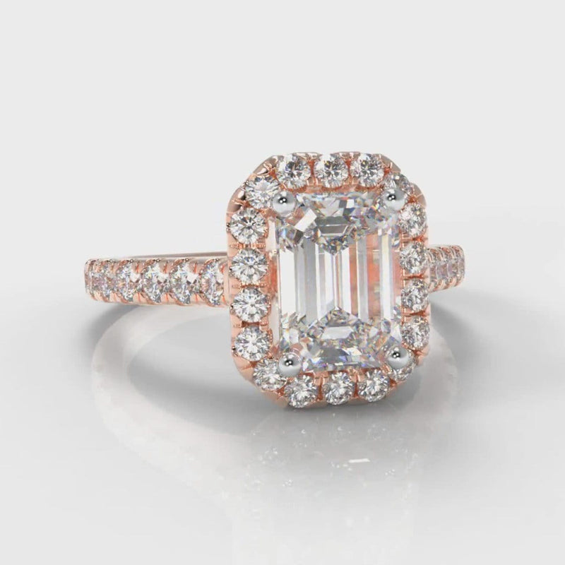 Micropavé Emerald Cut Diamond Halo Engagement Ring - Rose Gold