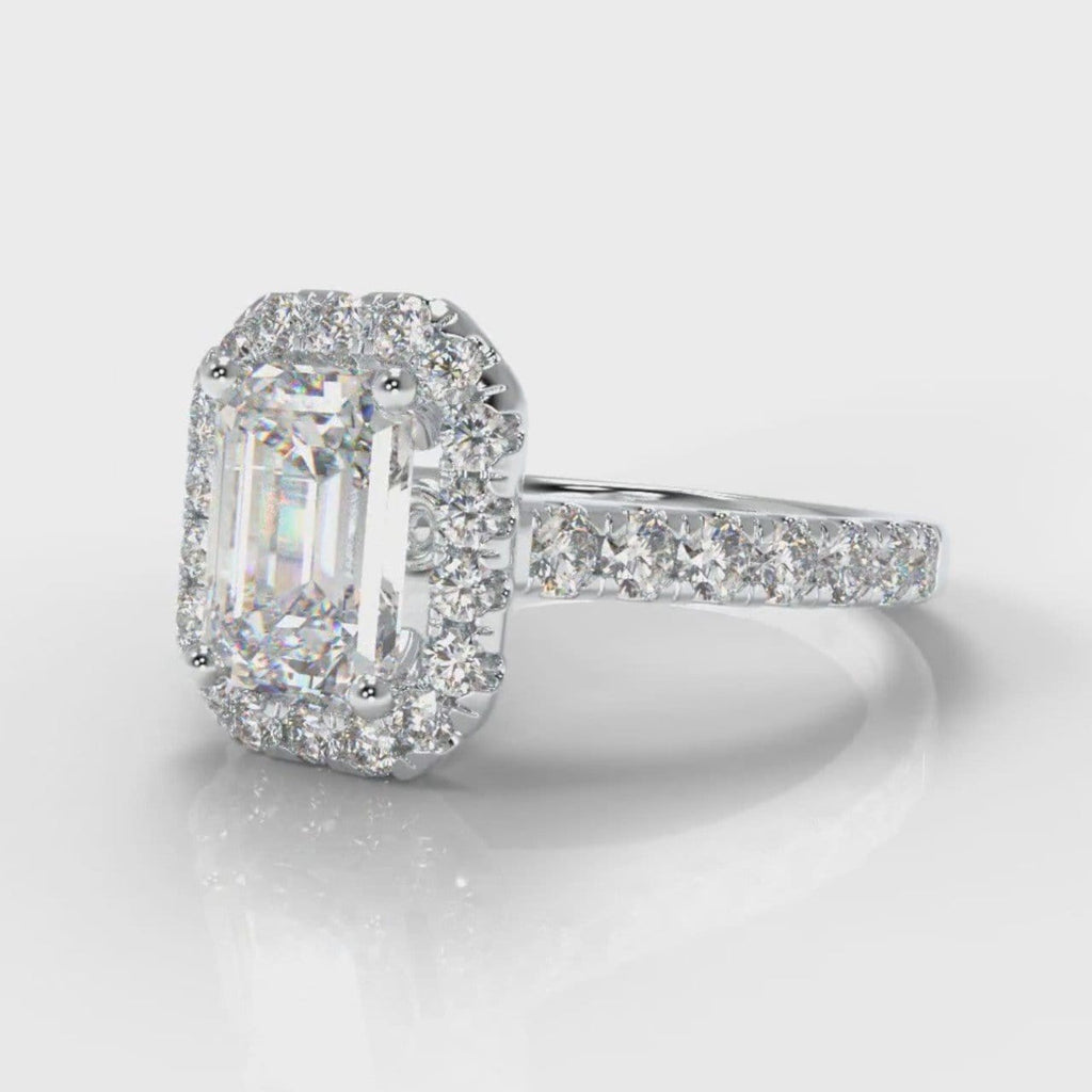 Micropavé Emerald Cut Diamond Halo Engagement Ring