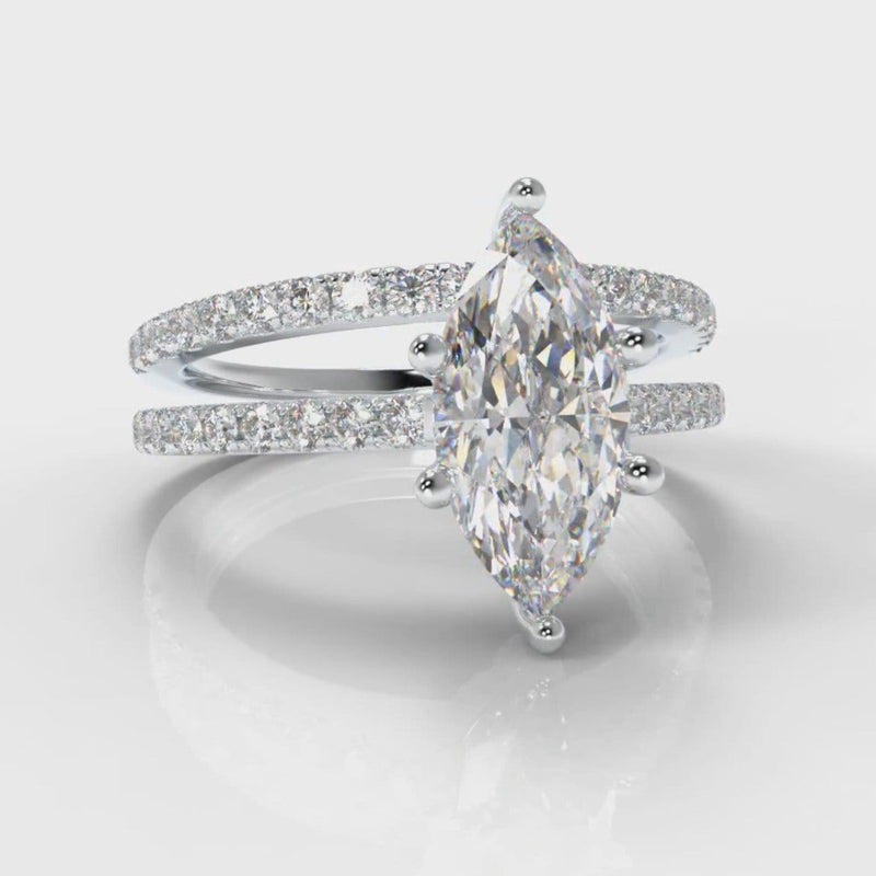 Star Petite Micropavé Marquise Diamond Bridal Set