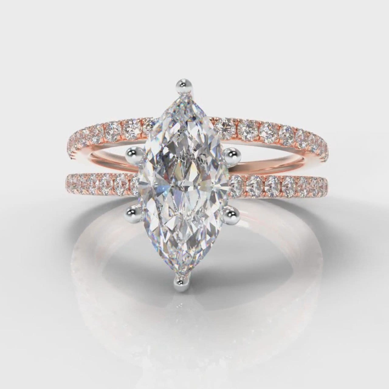 Star Petite Micropavé Marquise Diamond Bridal Set - Rose Gold