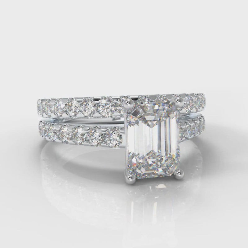 Carrée Micropavé Emerald Cut Diamond Bridal Set