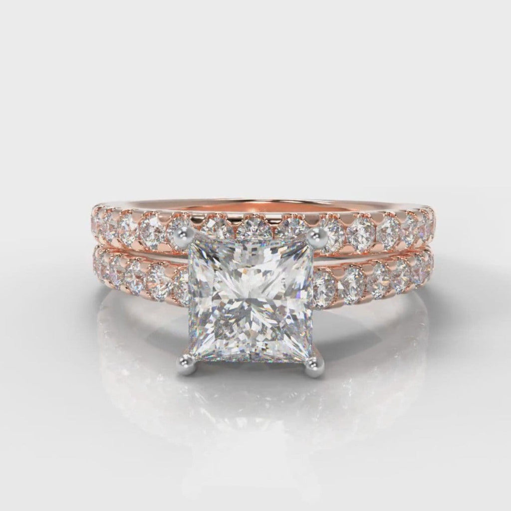Carrée Micropavé Princess Cut Diamond Bridal Set - Rose Gold