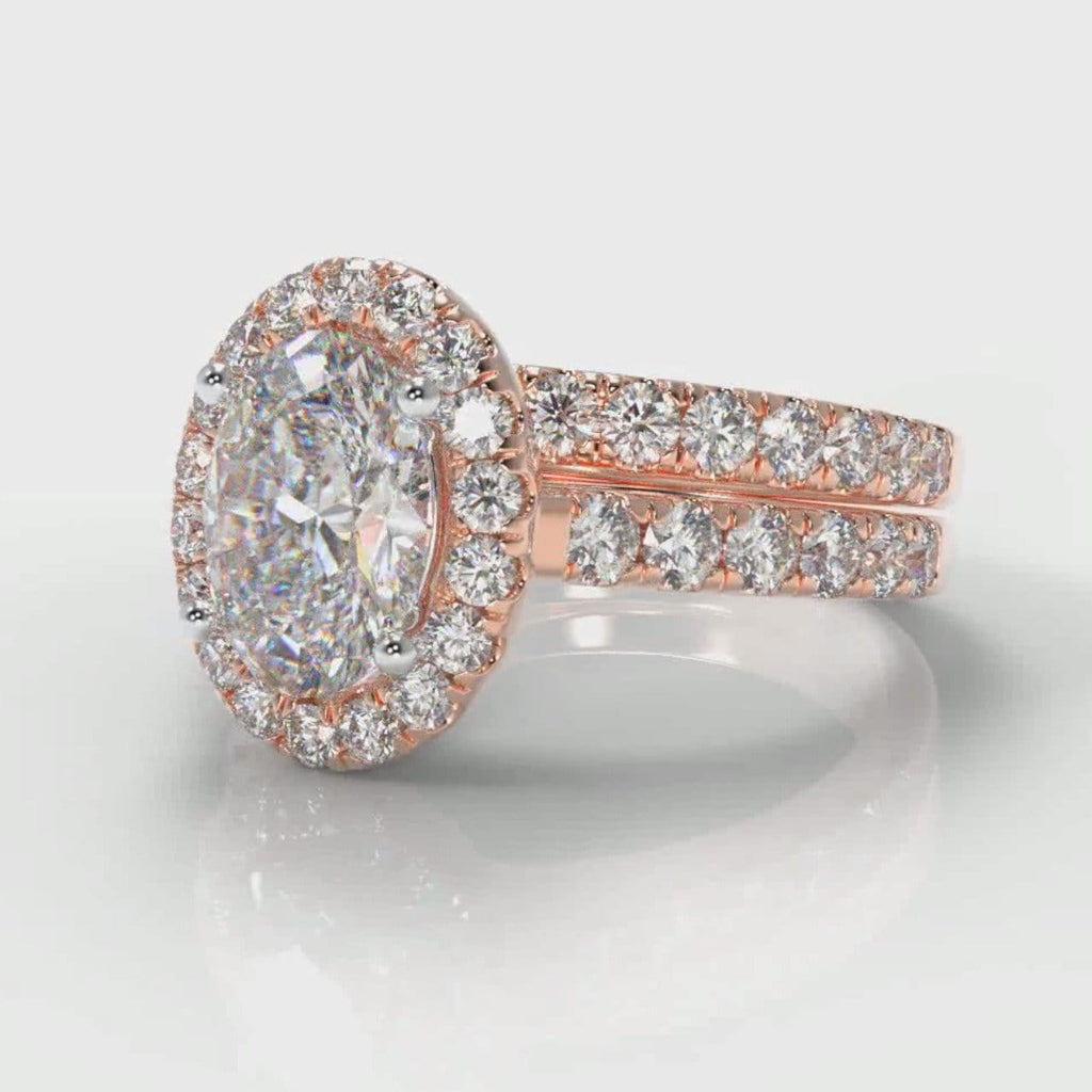 Micropavé Oval Diamond Halo Bridal Set - Rose Gold