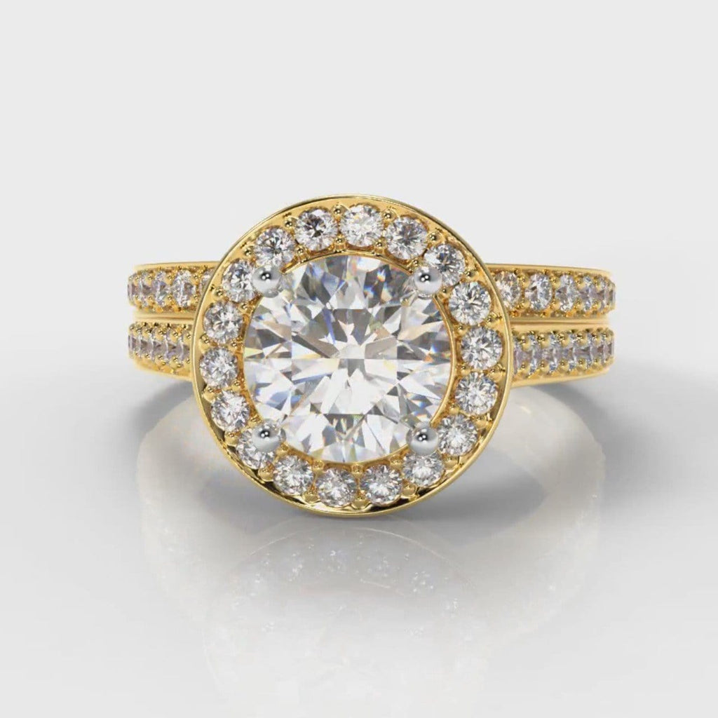 Pavé Round Brilliant Diamond Halo Bridal Set - Yellow Gold