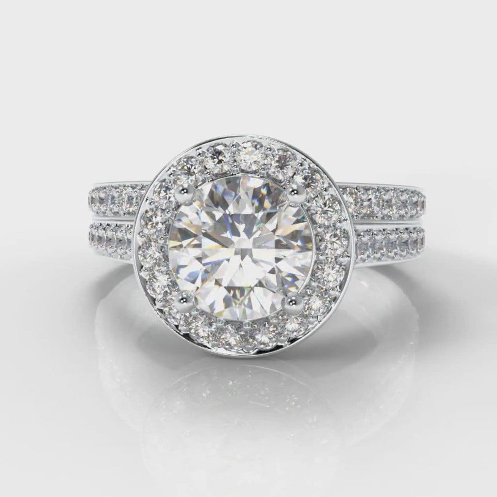Pavé Round Brilliant Diamond Halo Bridal Set