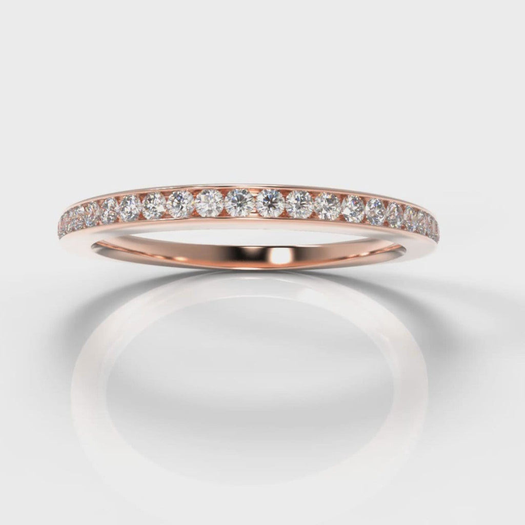 Petite Channel Set Diamond Wedding Ring - Rose Gold
