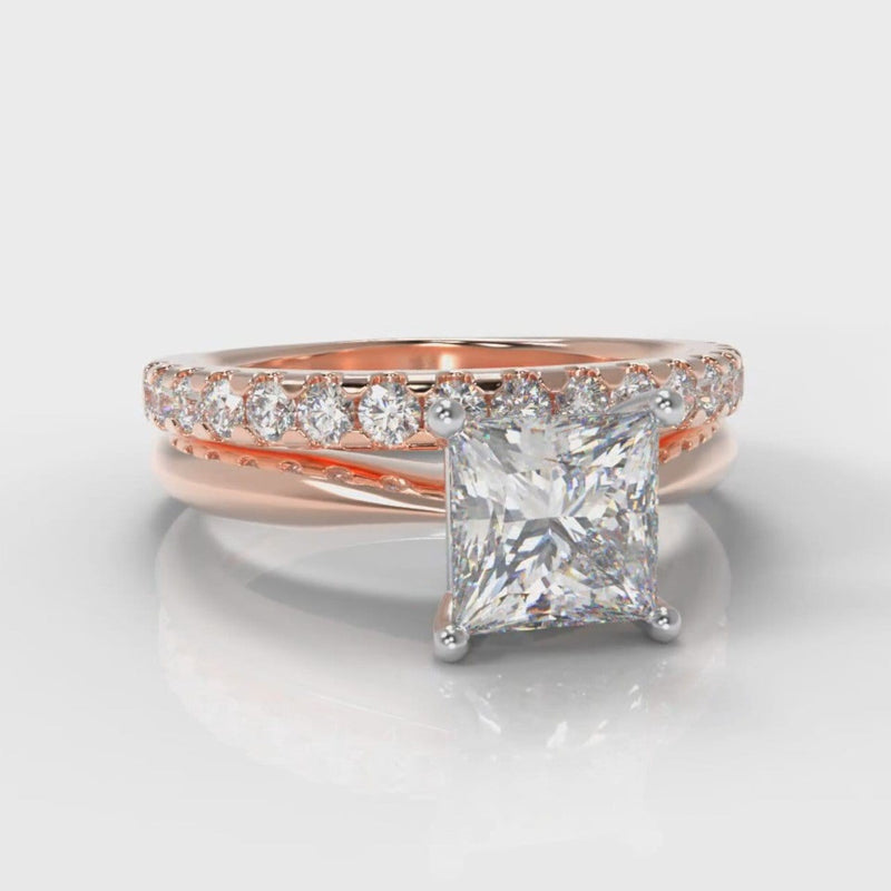 Carrée Solitaire Princess Cut Diamond Bridal Set - Rose Gold