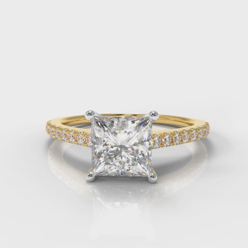 Petite Micropavé Princess Cut Diamond Engagement Ring - Yellow Gold