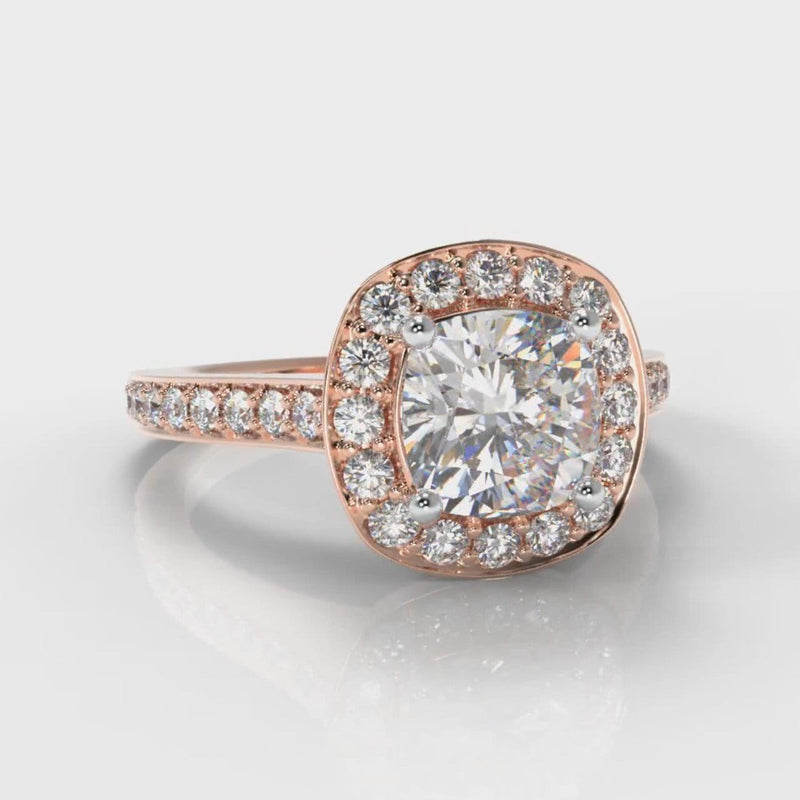 Pavé Cushion Cut Diamond Halo Engagement Ring - Rose Gold