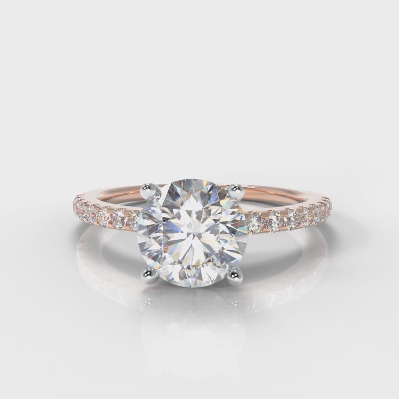 Petite Micropavé Round Brilliant Cut Diamond Engagement Ring - Rose Gold