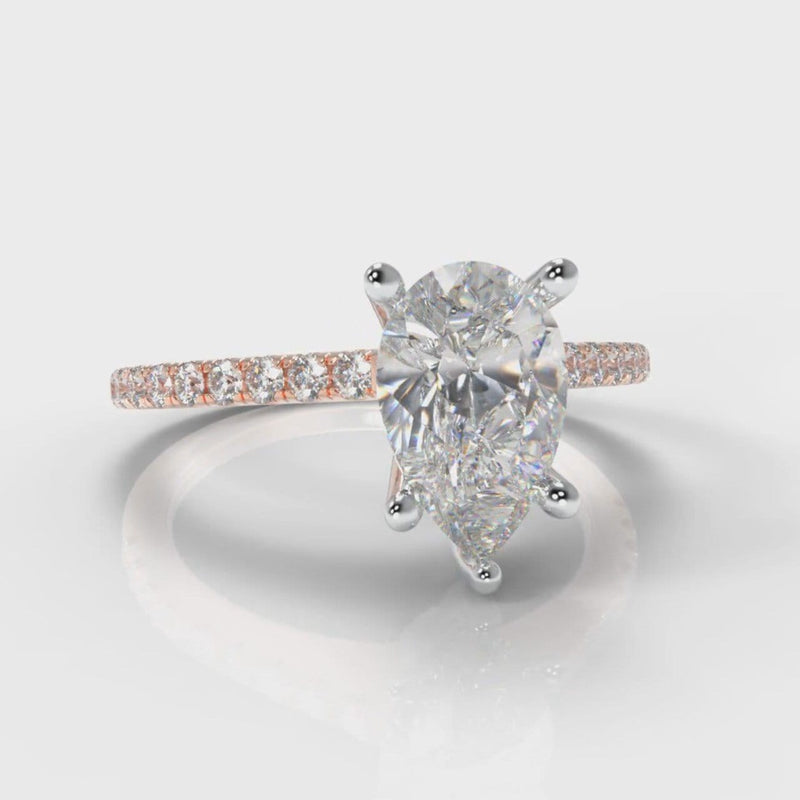 Petite Micropavé Pear Diamond Engagement Ring - Rose Gold
