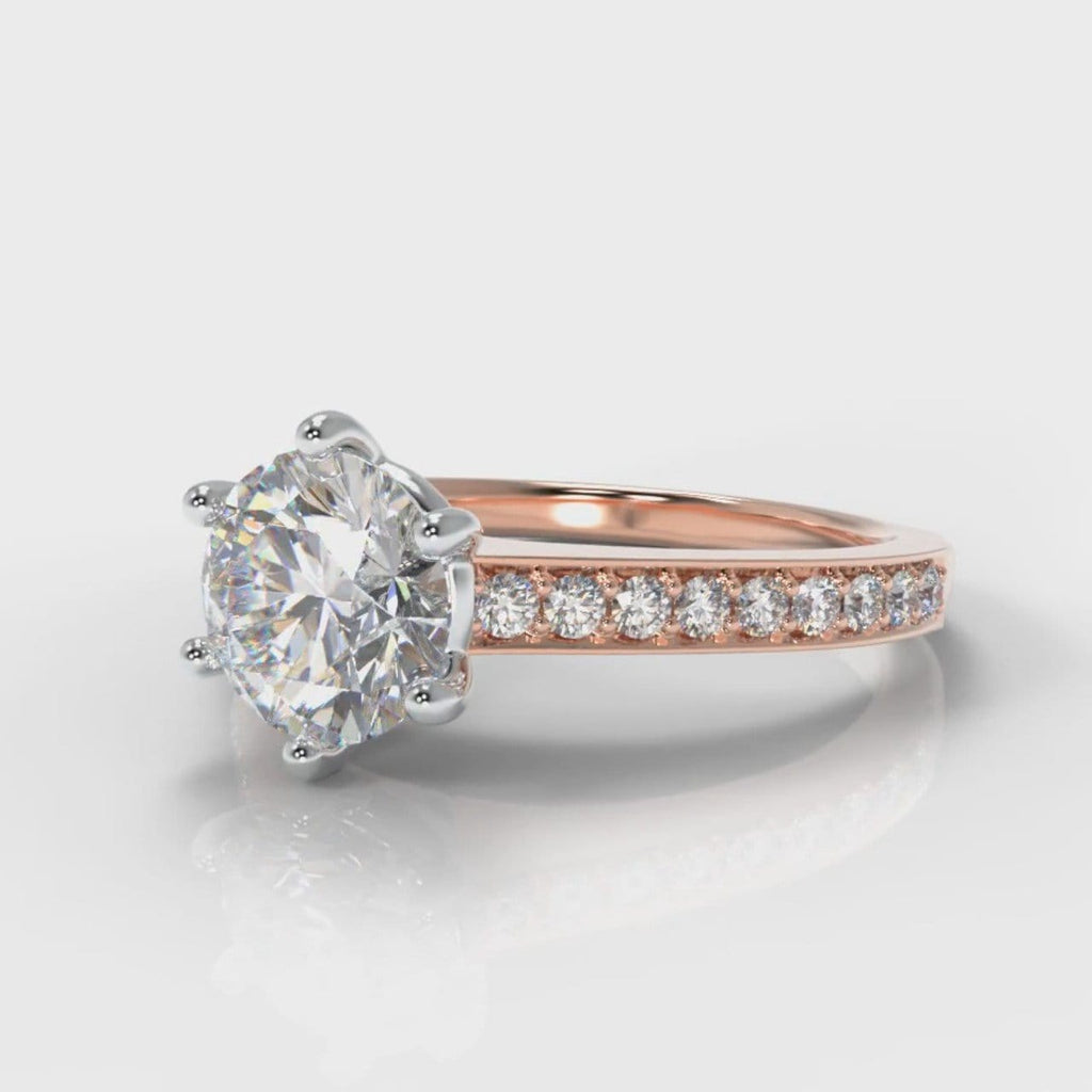 Star Pavé Round Brilliant Diamond Engagement Ring - Rose Gold